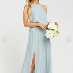 Silver Sage Crisp Heather Halter Dress Bridesmaid